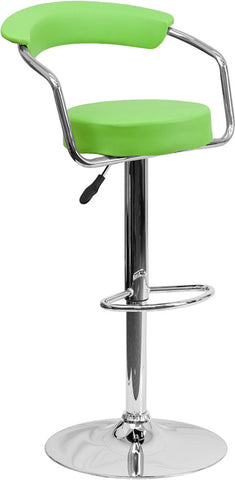 Contemporary Green Vinyl Adjustable Height Bar Stool with Arms and Chrome Base
