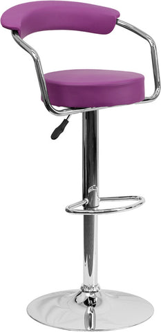 Contemporary Purple Vinyl Adjustable Height Bar Stool with Arms and Chrome Base