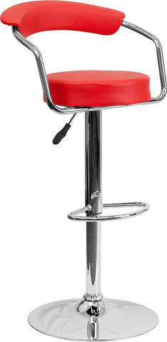 Contemporary Red Vinyl Adjustable Height Bar Stool with Arms and Chrome Base