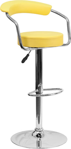 Contemporary Yellow Vinyl Adjustable Height Bar Stool with Arms and Chrome Base