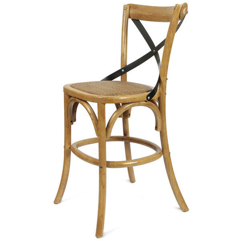 Tan Elm Wood Vintage-Style Dining Chairs (1 only) 24""