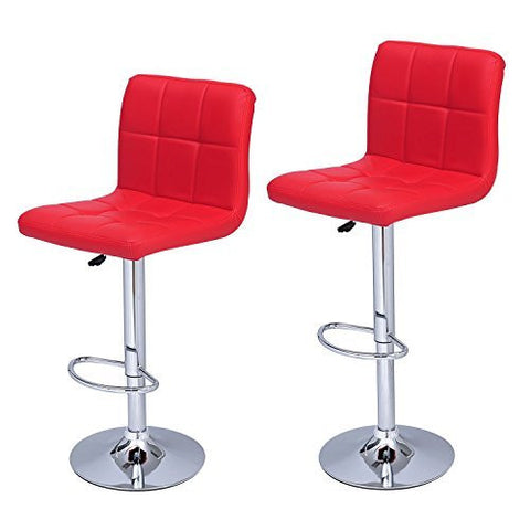 Bright Red Faux Tufted Adjustable Bar Stools - Beige - Set of two