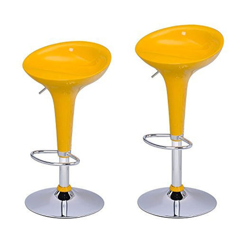 Ice Cream Shinny-Yellow Glossy Modern Bar Stools (Set of two)