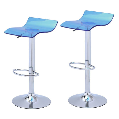 Blue Acrylic Micro Back Bar Stools (Set of two)