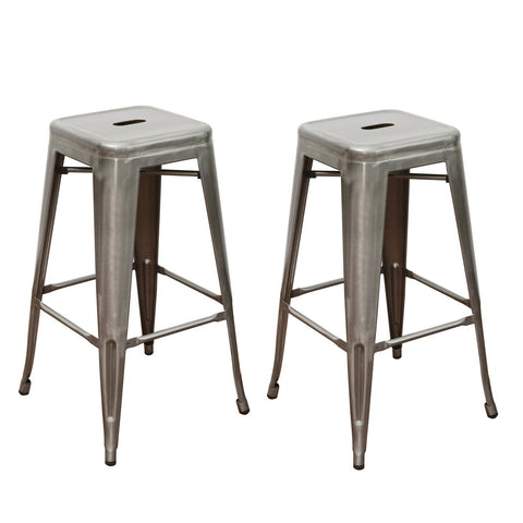 Gunmetal Silver 30 inch Metal Tolix Style Industrial Chic Chair Barstool (Set of 2)