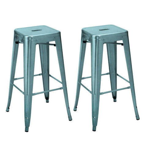 Light Blue 30-inch Metal Bar Stools (Set of Two)