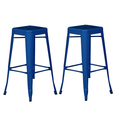Tolix Style Deep Blue Metal Bar Stools (Set of two)