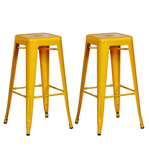 Tolix Style Yellow Metal Bar Stools (Set of two)