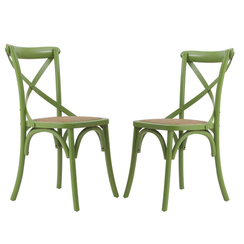 Green Elm Wood Vintage-Style Dining Chairs (Set of two)
