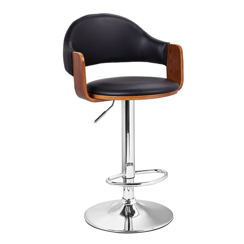 Malmberget Black Leatherette Modern Bar Stool with Arm