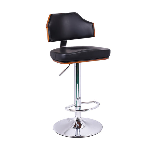 Black Leatherette and Walnut-Color Wood Modern Bar Stool