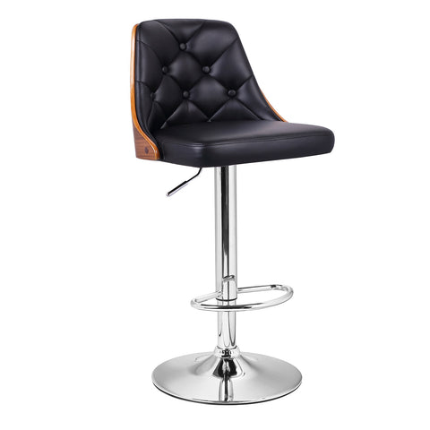 Black Leatherette and Walnut-Color Wood Bar Stool with Full Button Tufted Back