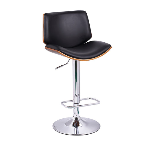 Black Leatherette and Walnut-Color Wood Bar Stool with Low Back