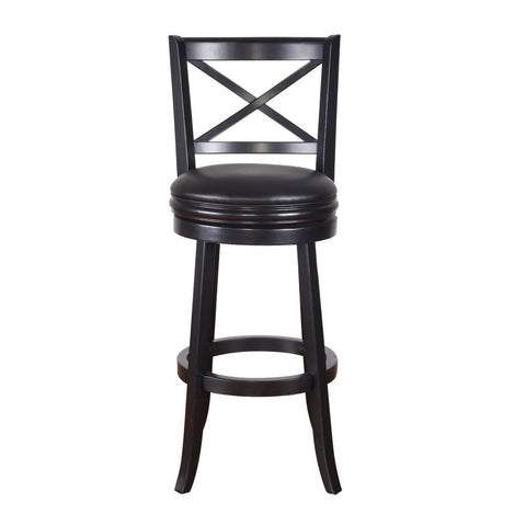 Black Wood and Leatherette Cushioned Bar Stool with X-Back
