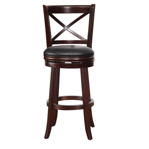 Dark Brown Wood and Leatherette Cushioned Bar Stool with X-Back Chair