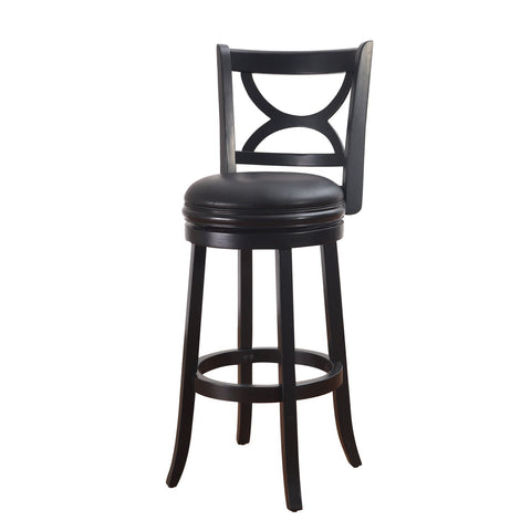 Black Wood and Leatherette Cushioned Bar Stool