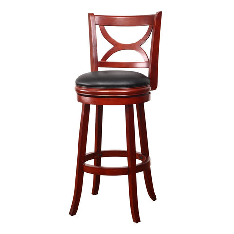 Walnut-Color Wood and Leatherette Cushioned Bar Stool