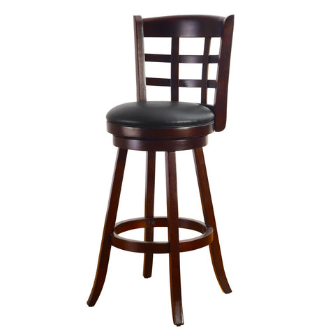 Dark Brown Wood and Leatherette Cushioned Bar Stool