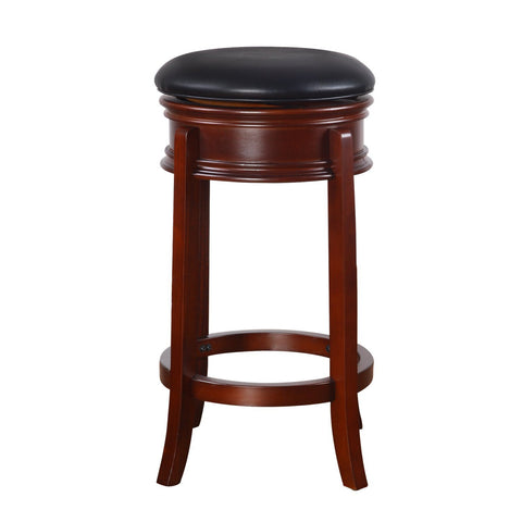 Black Leatherette and Walnut-Color Wood Bar Stool