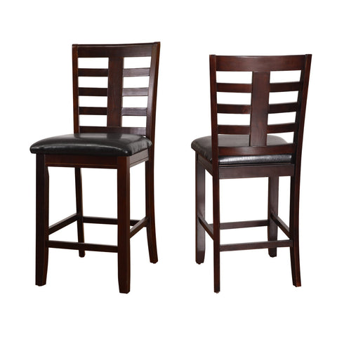 Black Leatherette Cushioned Dining Chairs (Set of 2)