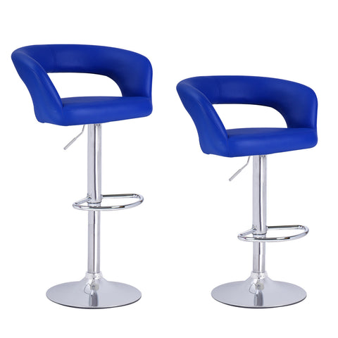 Blue Leatherette Low Cut Out Back Bar Stools (Set of two)