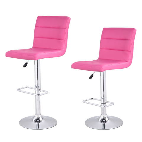 Pink Horizontal Tufting Leatherette Bar Stools (Set of two)