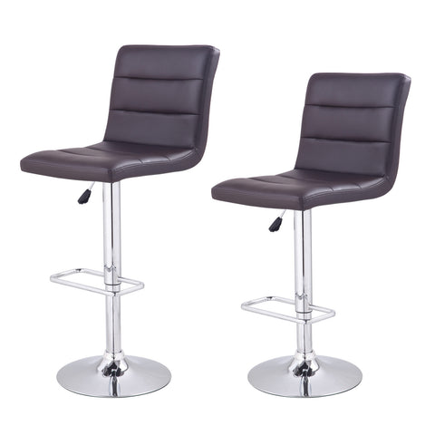 Brown Horizontal Tufting Leatherette Bar Stools (Set of two)