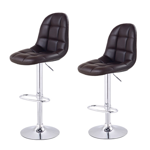 Brown Faux Tufting Leatherette Bar Stools (Set of two)