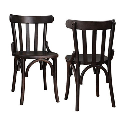 Dark Brown Elmwood Dining Chair with Curved Leg and Lath-Style Back (Set of 2)