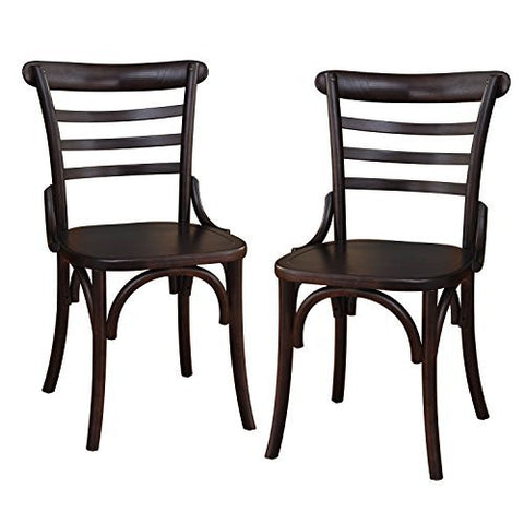 Dark Brown Elmwood Dining Chair with Curved Leg and Raised Ladder Back (Set of 2)