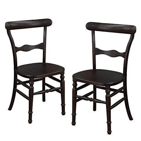 Dark Brown Elmwood Dining Chair with Early American Style Leg and Curved Horizontal Fiddle Back (Set of 2)