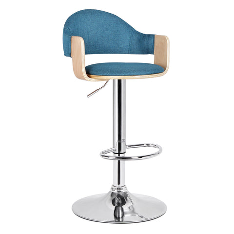 Malmberget Teal Fabric Modern Bar Stool with Arm