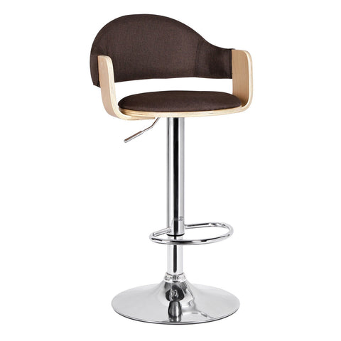 Malmberget Coffee Brown Fabric Modern Bar Stool with Arm