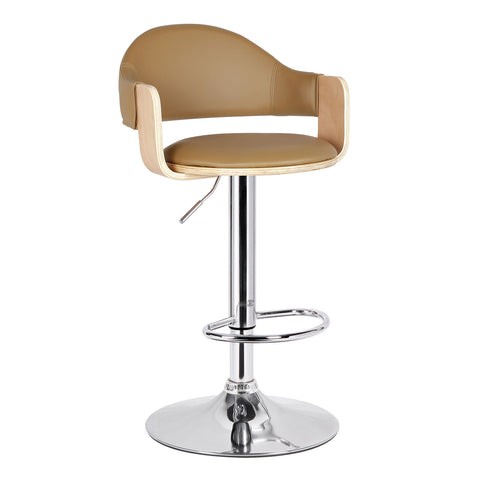 Malmberget Beidge Leatherette Modern Bar Stool with Arm