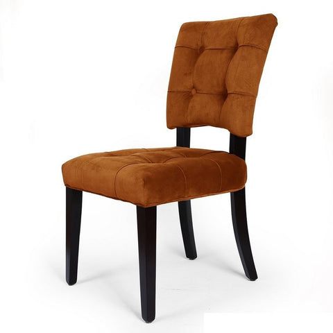 Velvet Side / Dining Chair with Solid wood legs Amber Tufted European Style (Set of 2)