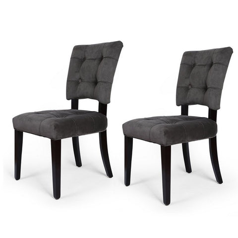 Velvet Side / Dining Chair with Solid wood legs Gray Tufted European Style (Set of 2)