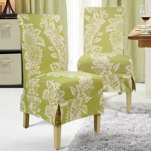 Floral Upholstery Dining Chairs - Green