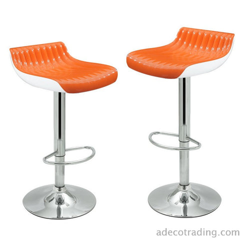 Glossy Orange Counter Bar Stools (Set of 2)