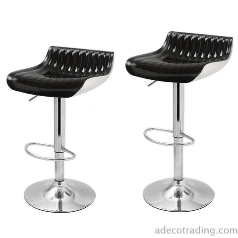 Glossy Black Counter Bar Stools (Set of 2)