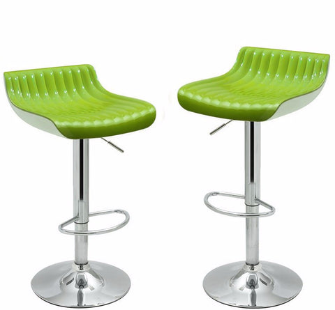 Glossy Green Bar Stools (Set of 2)