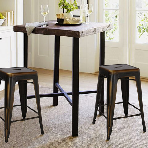 Antique Copper 24-inch Metal Counter Bar Stools (Set of 2)
