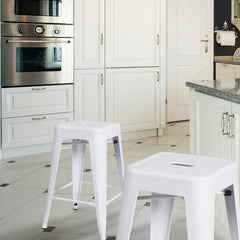 24-inch Glossy White Metal Tolix-style Chair Counter Stool (Set of 2) - YourBarStoolStore + Chairs, Tables and Outdoor  - 1