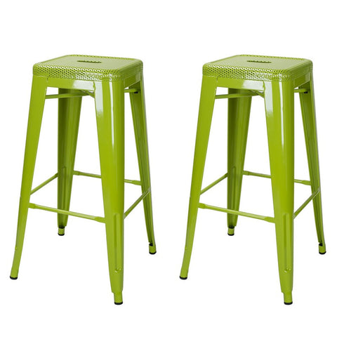 Green 30-inch Metal Bar Stools (Set of 2)