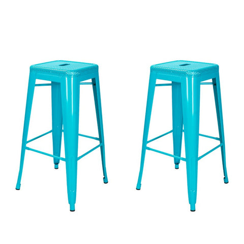 Blue 30-inch Metal Bar Stools (Set of 2)