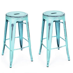 Antique Sky Blue 30-inch Metal Counter Bar Stools (Set of 2) - YourBarStoolStore + Chairs, Tables and Outdoor