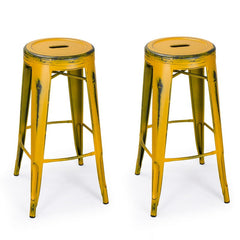 Antique Yellow 30-inch Metal Counter Bar Stools (Set of 2) - YourBarStoolStore + Chairs, Tables and Outdoor
