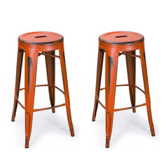 Antique Orange 30-inch Metal Counter Bar Stools (Set of 2) - YourBarStoolStore + Chairs, Tables and Outdoor