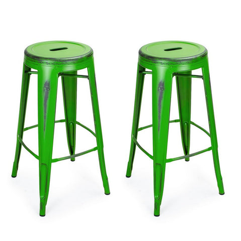 Antique Green 30-inch Metal Counter Bar Stools (Set of 2)
