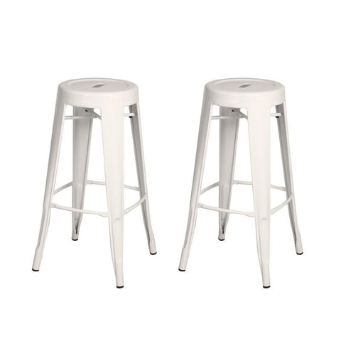 Glossy White 30-inch Metal Counter Bar Stools (Set of 2)