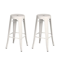 Glossy White 30-inch Metal Counter Bar Stools (Set of 2) - YourBarStoolStore + Chairs, Tables and Outdoor  - 1